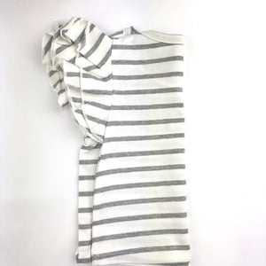 Flutter Sleeve Shirt - Gray Stripe