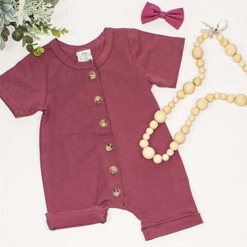 Baby Button Romper - Mauve