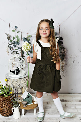 Scarlett Pinafore - Olive Green