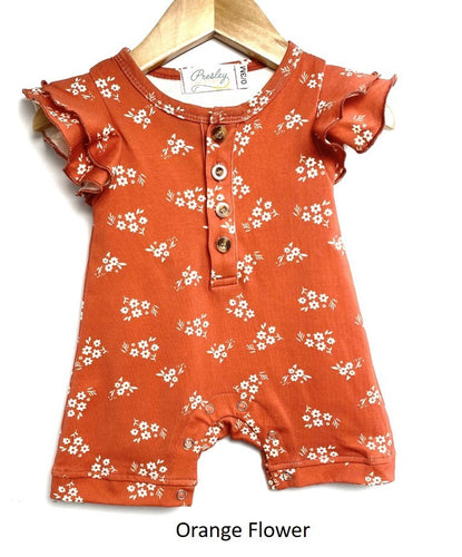 Baby Flutter Sleeve Romper - Orange Flower