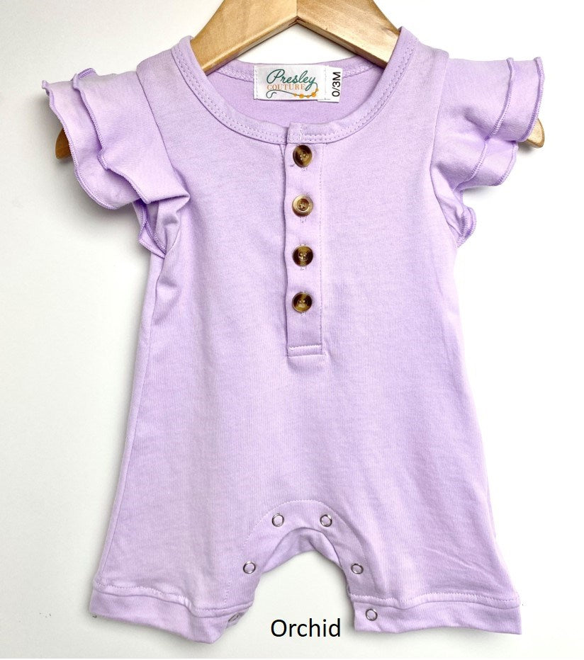 Baby Flutter Sleeve Romper - Orchid
