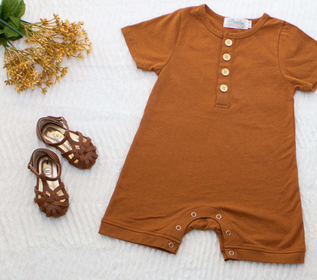 Baby Button Romper - Russet Brown