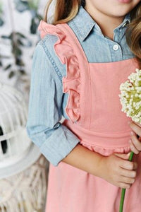 Ruffle Pinafore - Salmon