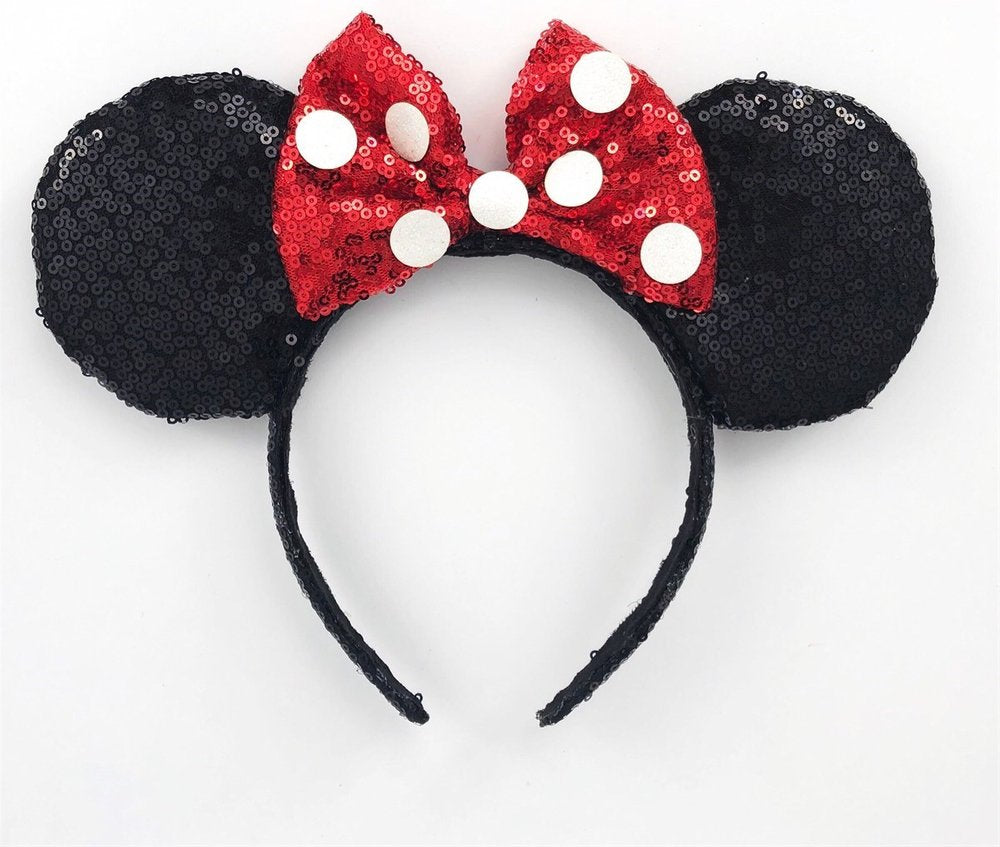 Sequin Red and Black Polka Dot Ears
