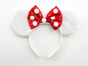 Sequin White and Red Polka Dot Ears