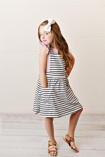 Ruffle Pinafore - Striped Black & White