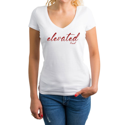 ELEVATED BRND V-NECK TEE - WHITE