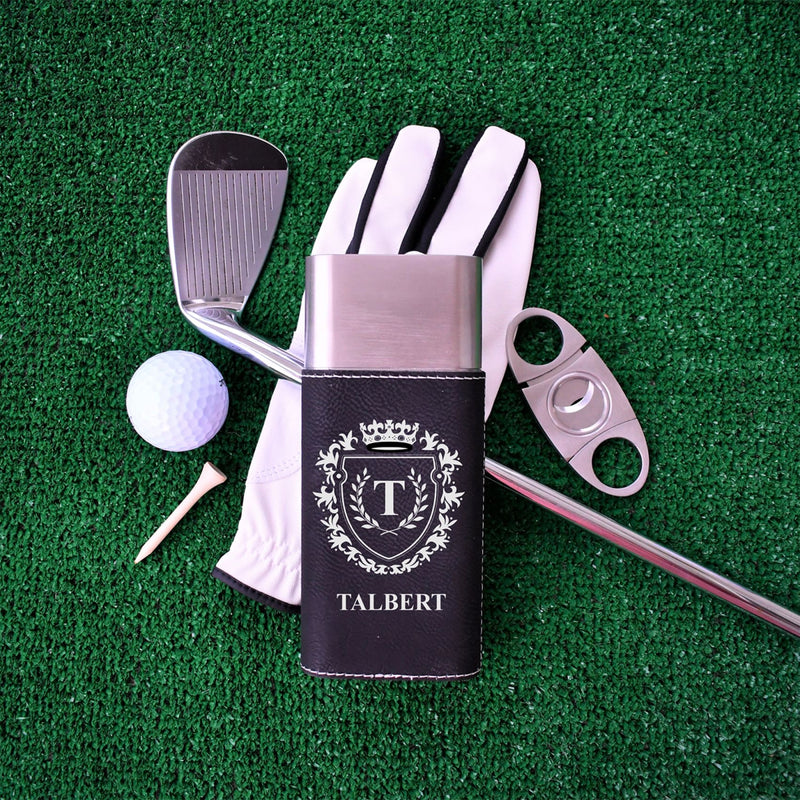 Cigar Case & Cutter- Custom Formal Crest with Monogram - All Products
