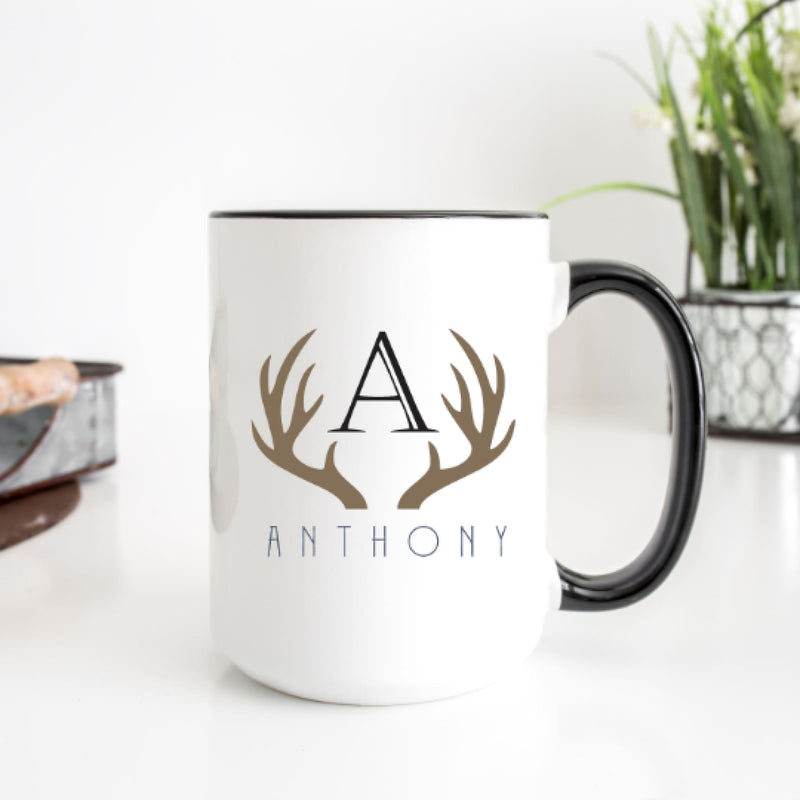 Coffee Mug- Antler Monogram Sublimation Mug - All Products