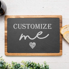 Cutting board- Acacia Wood & Slate Cutting board - Personalized Cuttingboard - All Products