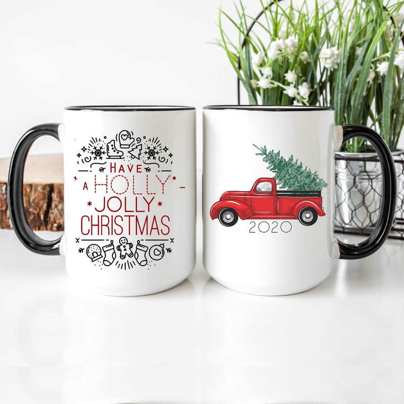Have A Holly Jolly Christmas Red Truck Mug Antique Red Truck Mug - All Products