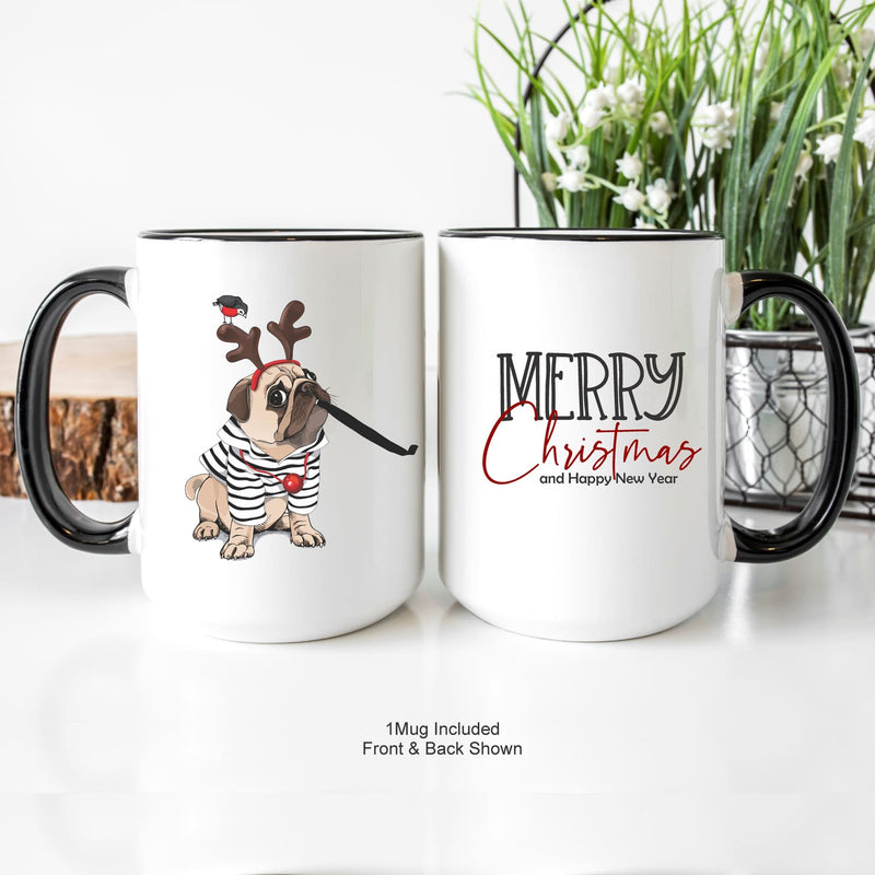 Merry Christmas Pug Mug Happy New Year's Eve Mug Pug Lover's Mug - All Products