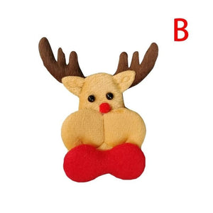 Santa Claus Elk Shape Patch Padded Felt Appliques Christmas Decoration