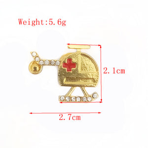 Medical Gold Helicopter Brooch Air Ambulance Crystal Pins And Badges Gift For Nurse Doctor Clothes Accessories Medical Jewelry