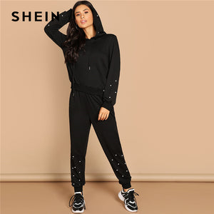 SHEIN Black Casual Leisure Solid Pearl Beading Detail Hoodie Sweatshirt And Carrot Pants Set Autumn Modern Lady Women Two Pieces
