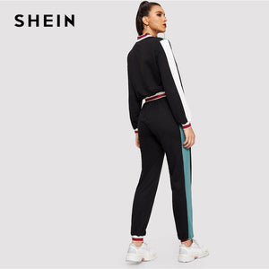 SHEIN Black Color Block O-Ring Zip Up Stand Collar Sweatshirt and Sweatpants Set Women Autumn Elegant Workwear Twopiece