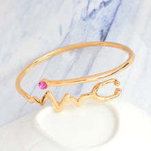Medical Doctors Nurse Bracelet Silver Rose Gold Electrocardiogram Heartbeat Stethoscope Bangle Bracelet Jewelry Graduation Gift