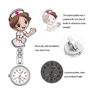 New Cartoon Girls Numeral Analog Quartz Clip-On Fob Nurse Doctor Medical Hanging Luminous Pocket Watch Free Shipping