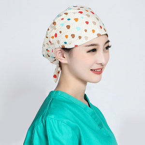 Fancy Printing Hospital Surgical Cap Women Design Nurse Caps Uniform Adjustable Cotton Doctor Medical Caps