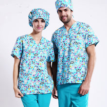Hot ! new arrival printed medical clothings for Blue doggie dog fabric with comfortable medical uniform in scrubs set