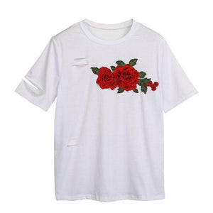 Women Holes White T-Shirt Casual Short Sleeve Ripped Rose Embroidery - Aevry's