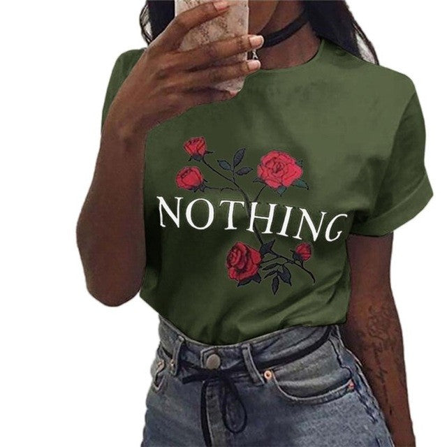 T Shirt Womens Nothing Letters Printing Rose Cotton Loose Tops Short-Sleeved 4 Colors - Aevry's