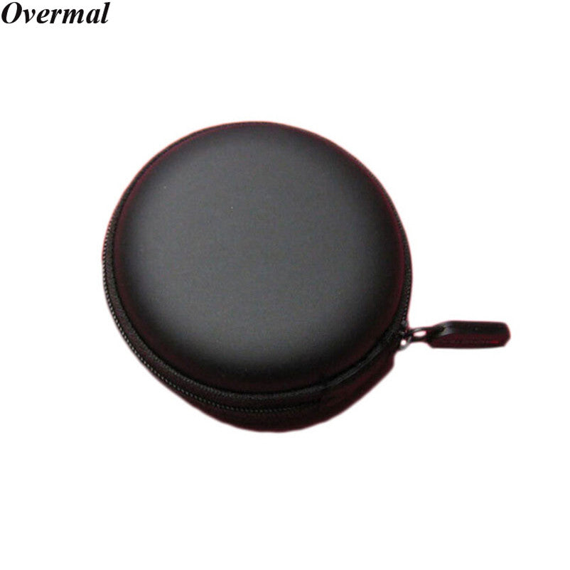 Portable Case for headphones case Mini Zippered Round Storage Hard Bag Headset box for Earphone Case SD TF Cards Earphone Bag - Aevry's