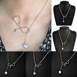 Charming Stethoscope Heart Chain Pendant Necklace