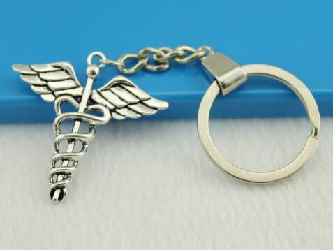 Beautiful Keychain Vintage Silver Health Medical Key Ring For Keys Car DIY Bag Key Chain Handbag Jewelry Gift Accessories