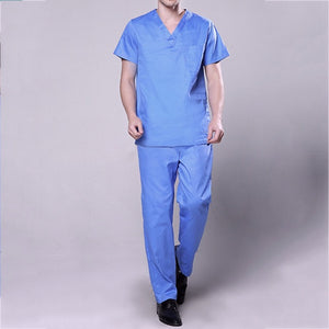Hospital Nurse Uniform Scrubs Medical Uniforms Women Short Sleeve Surgical Gown Mens Doctor Clothing Beauty Salon Workwear