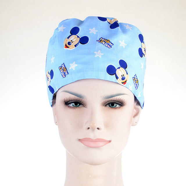 2018 Hospital Surgical Cap Women Men Design Nurse Caps Uniform Adjustable Blue Mickey Pattern Cotton Doctor Beauty Medical Hats