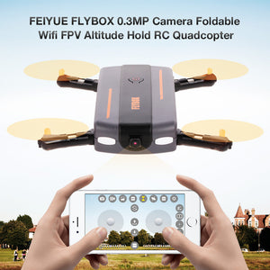 Kids FEIYUE FLYBOX 0.3MP Camera Foldable Wifi FPV 6-Axis Gyro Altitude Hold Headless RC Quadcopter Drone - Aevry's