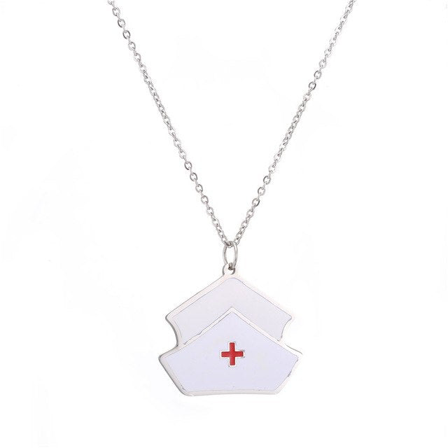 First Aid Kit Pendant Necklace Silver Medical Jewelry for Nurse/Doctor/Therapist/Physician Science Jewellry White Necklace