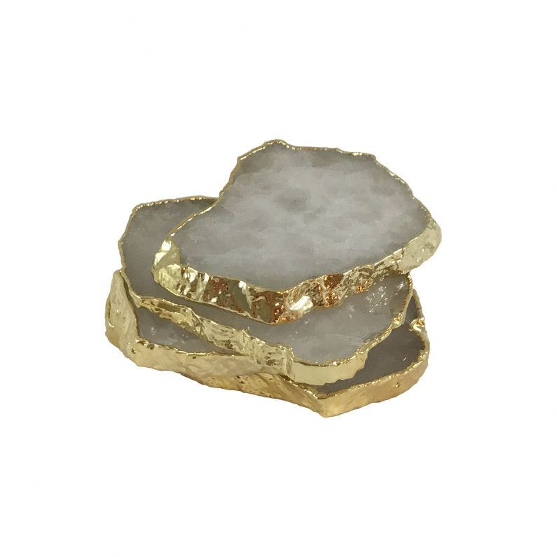 Luiz Gold Crystal Coasters Set of Four