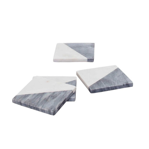 Tybee White Gray Coasters Set of Four