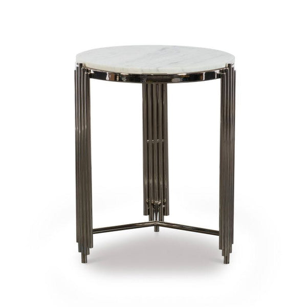 Alexandria Side Table White Nickel