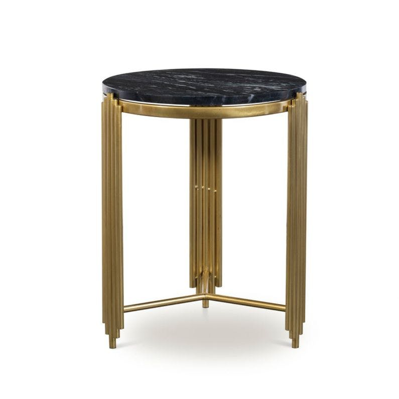 Alexandria Side Table White Brass