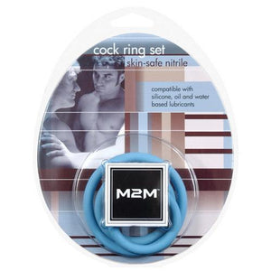 M2M Nitrile Cock Ring - Pack of 3 Sky Blue