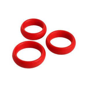 3 Piece Silicone Cock Ring Set - Red