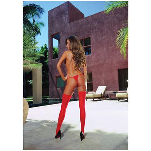 Sheer Thigh Highs w/Back Seam Red O/S