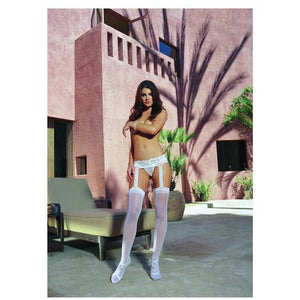 Sheer Garter Belt Pantyhose White O/S