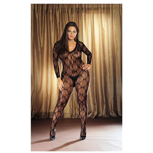Long Sleeve Bow Design Open Crotch Bodystocking Black QN