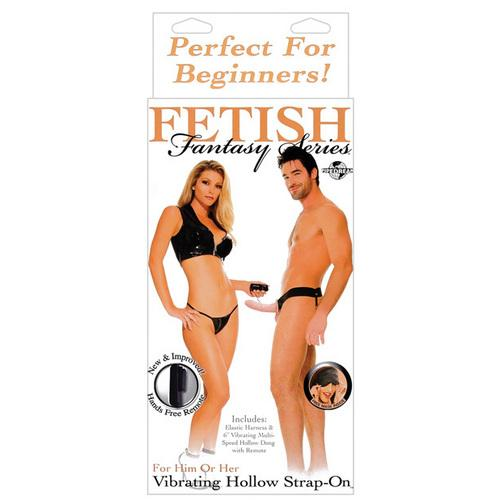 Fetish Fantasy Series for Him or Her Vibrating Hollow Strap-On - Flesh