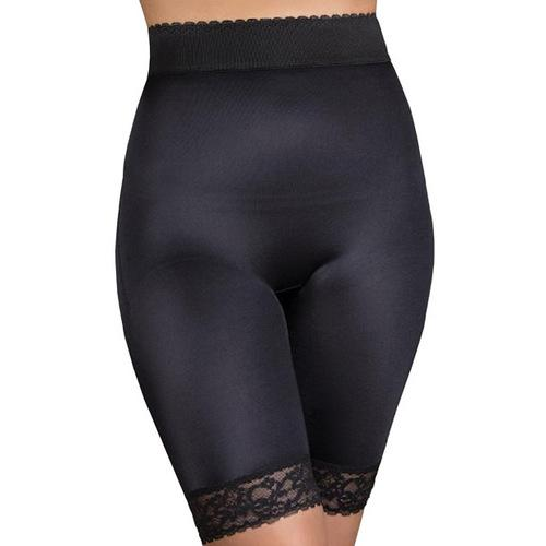 Rago Shapewear Long Leg Shaper w/Gripper Stretch Lace Bottom Black 4X