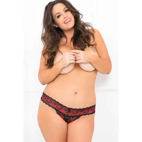 Rene Rofe Crotchless Lace V-Thong Red/Black 3X/4X