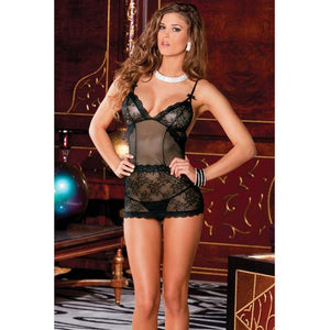 Rene Rofe Sophisticated Lace Chemise & G-String Set Black S/M