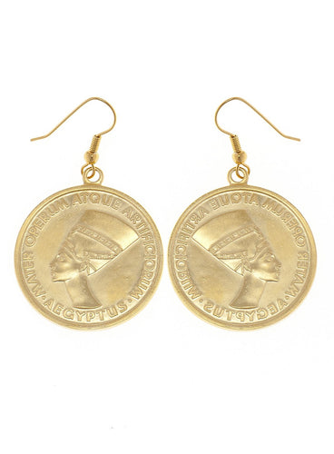 Nefertiti Coin Earrings