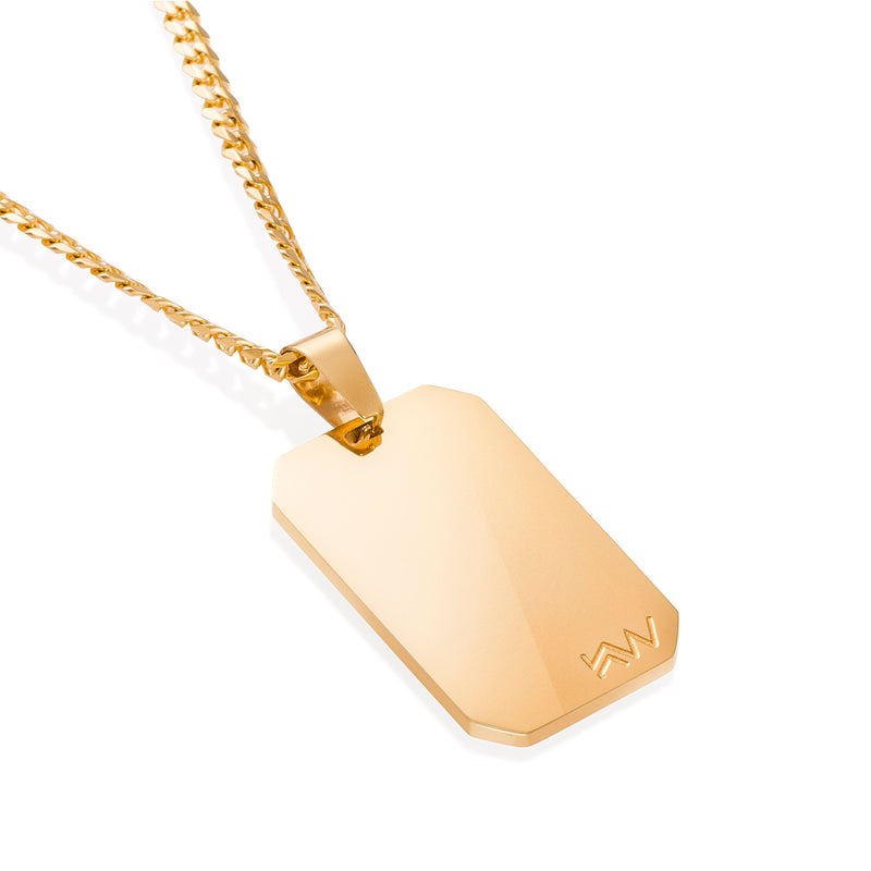 SAGE - Dog Tag Gold Stainless Steel pendant