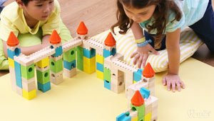 voila -toy -wooden -colourful c-astle -blocks -for -marble