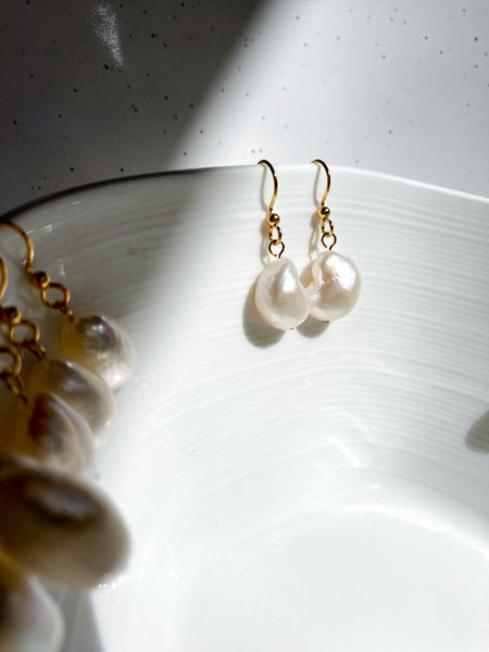 Baroque Pearl Earrings - Gold Plated Surgical Steel
